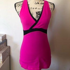 Lululemon Pink and Black V-Neck Top